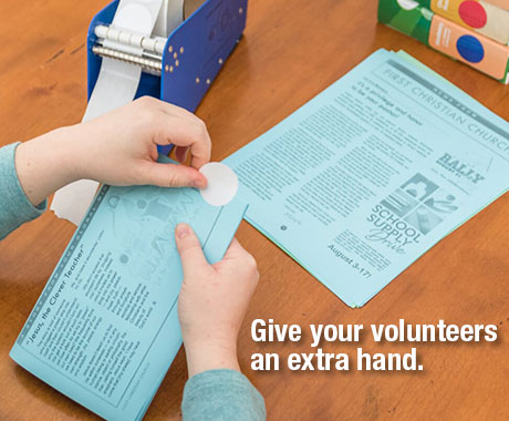 Christian Resources Wafer Seals give your volunteers a hand