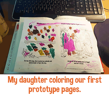 My Daughter coloring her first prototype page